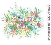 summer banner with flowers and... | Shutterstock .eps vector #637044637