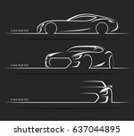 set of sports car silhouettes.... | Shutterstock .eps vector #637044895