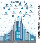 smart city and wireless... | Shutterstock .eps vector #637048537