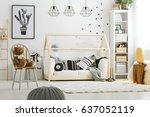 black decoration in cozy white... | Shutterstock . vector #637052119