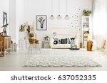 modern scandinavian style decor ... | Shutterstock . vector #637052335
