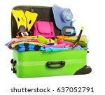 suitcase  open packed travel...   Shutterstock . vector #637052791