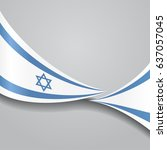 israeli flag wavy abstract... | Shutterstock .eps vector #637057045