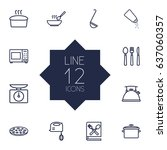 set of 12 kitchen outline icons ... | Shutterstock .eps vector #637060357
