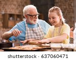 grandfather and granddaughter... | Shutterstock . vector #637060471