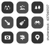 set of 9 camping icons set...