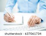 closeup of business man hand... | Shutterstock . vector #637061734
