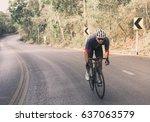 asian men are cycling road bike ... | Shutterstock . vector #637063579