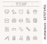 set of icons for vet clinic ... | Shutterstock .eps vector #637071901