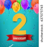 two years anniversary... | Shutterstock .eps vector #637075765