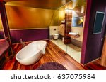 the luxury bathroom with the... | Shutterstock . vector #637075984