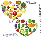 fresh organic food. set of... | Shutterstock . vector #637080025