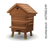 wood hive for bees ... | Shutterstock .eps vector #637082149
