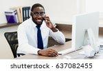 young african american black... | Shutterstock . vector #637082455