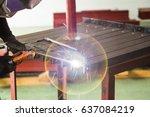 shielded metal arc welding ... | Shutterstock . vector #637084219