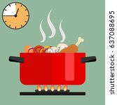 time of soup preparation. red... | Shutterstock .eps vector #637088695
