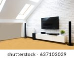 modern apartment with home... | Shutterstock . vector #637103029