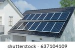 photovoltaic solar system on... | Shutterstock . vector #637104109