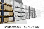 warehouse hall for storage cad... | Shutterstock . vector #637104139