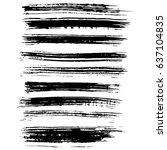 ink vector brush strokes set.... | Shutterstock .eps vector #637104835