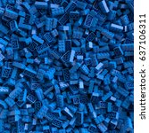 Blue Toy Bricks Background. 3d...