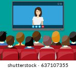 projector screen with financial ... | Shutterstock . vector #637107355