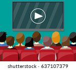 projector screen with financial ... | Shutterstock . vector #637107379
