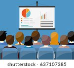 projector screen with financial ... | Shutterstock . vector #637107385