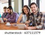 portrait of friends using... | Shutterstock . vector #637111579