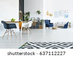 white apartment with wood table ... | Shutterstock . vector #637112227