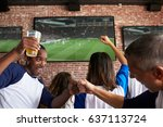 friends watching game in sports ... | Shutterstock . vector #637113724