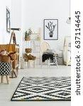 scandi style in spacious modern ... | Shutterstock . vector #637114645