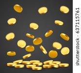 falling coins  falling money ... | Shutterstock .eps vector #637115761