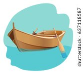 Wooden Boat With Oars Vector...