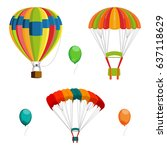 set of colorful air balloon and ... | Shutterstock .eps vector #637118629