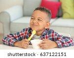 cute african american boy...   Shutterstock . vector #637122151
