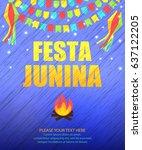 festa junina traditional... | Shutterstock .eps vector #637122205