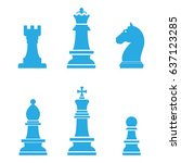 chess pieces icons. | Shutterstock .eps vector #637123285