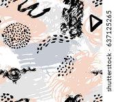 vector hand draw seamless... | Shutterstock .eps vector #637125265