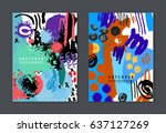 vector set of colorful artistic ... | Shutterstock .eps vector #637127269