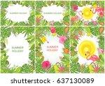 summery tropical backgrounds... | Shutterstock .eps vector #637130089