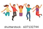 young and happy group of... | Shutterstock .eps vector #637132744