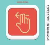 2 finger swipe left solid icon  ... | Shutterstock .eps vector #637133311