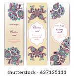 vector set of ornate vertical... | Shutterstock .eps vector #637135111