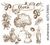 hand drawn set olives | Shutterstock .eps vector #637135831