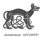 Stock vector ancient celtic mythological symbol of wolf dog vector knot ornament 637135957