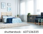 white bedroom with decorative... | Shutterstock . vector #637136335