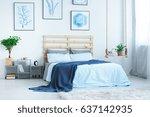 modern bedroom with double bed  ... | Shutterstock . vector #637142935