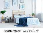 Simple bedroom with double bed, blue bedding, posters and window