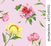 romantic seamless pattern with...   Shutterstock . vector #637145521